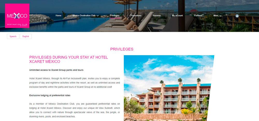 Web México Destination Club | Privileges