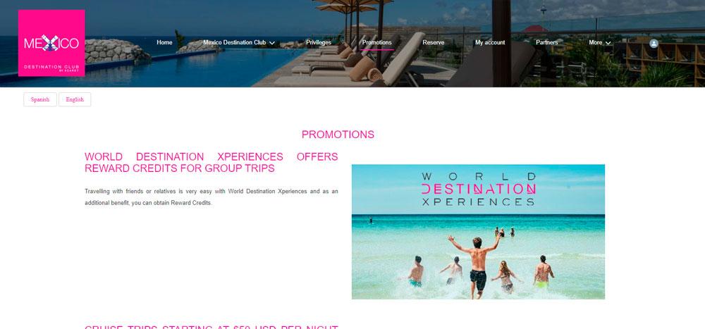 Web México Destination Club | Promotions