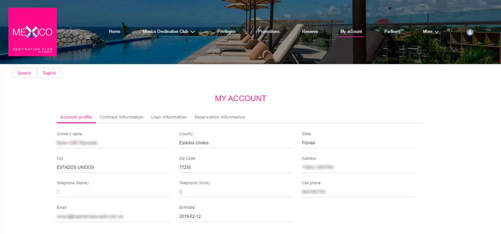 Web México Destination Club | Account
