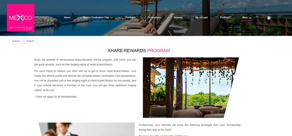 Web México Destination Club | Xhare Program