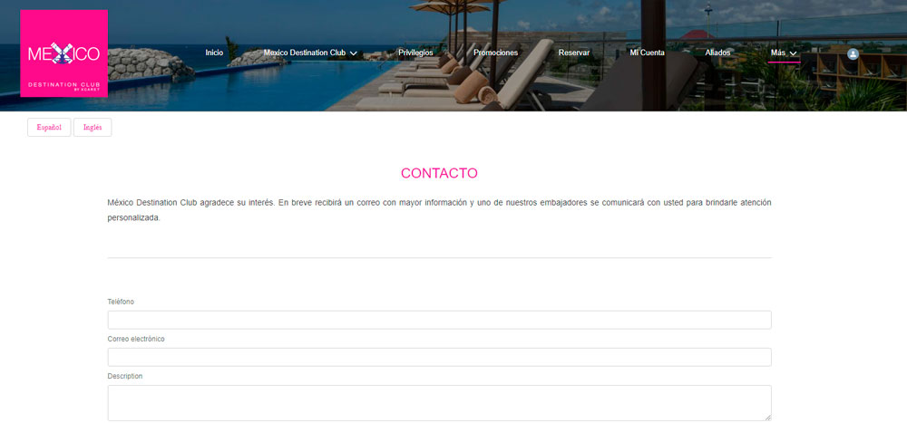 Web México Destination Club | Contacto