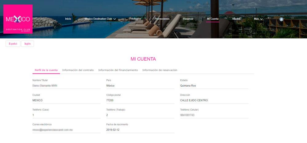 Web México Destination Club | Mi Cuenta