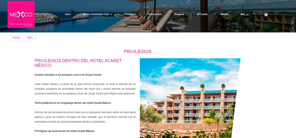 Web México Destination Club   Privilegios