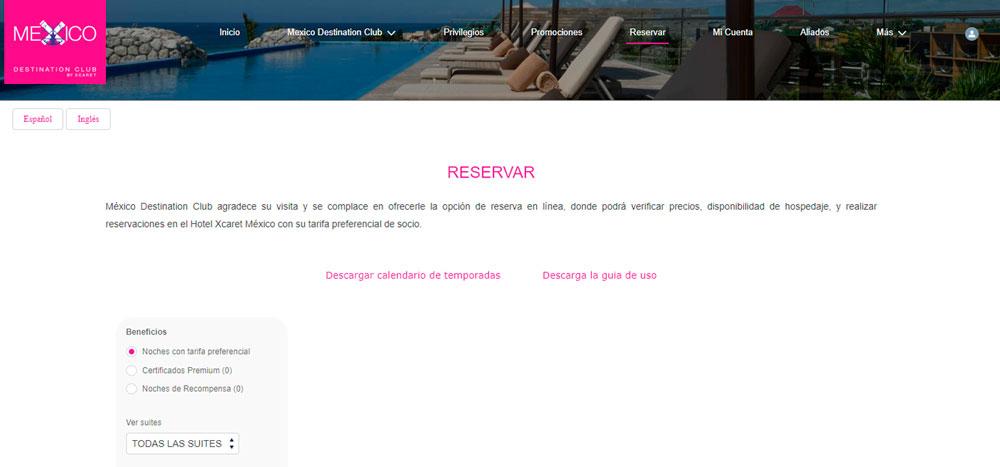 Web México Destination Club   Reservar
